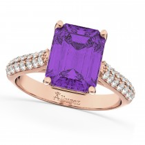 Emerald-Cut Amethyst & Diamond Engagement Ring 14k Rose Gold (5.54ct)
