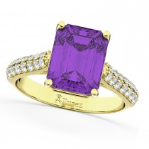 Emerald-Cut Amethyst & Diamond Engagement Ring 14k Yellow Gold (5.54ct)