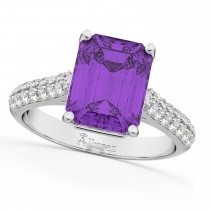 Emerald-Cut Amethyst & Diamond Engagement Ring 18k White Gold (5.54ct)