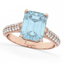 Emerald-Cut Aquamarine & Diamond Engagement Ring 14k Rose Gold (5.54ct)