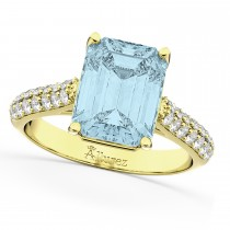 Emerald-Cut Aquamarine & Diamond Engagement Ring 14k Yellow Gold (5.54ct)