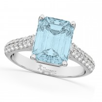 Emerald-Cut Aquamarine & Diamond Engagement Ring 18k White Gold (5.54ct)