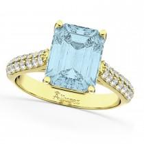 Emerald-Cut Aquamarine & Diamond Engagement Ring 18k Yellow Gold (5.54ct)
