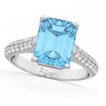 Emerald-Cut Blue Topaz & Diamond Ring 18k White Gold (5.54ct)