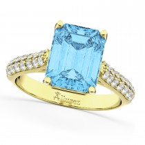 Emerald-Cut Blue Topaz & Diamond Ring 18k Yellow Gold (5.54ct)