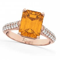 Emerald-Cut Citrine & Diamond Ring 14k Rose Gold (5.54ct)