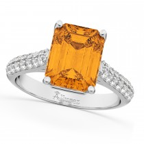 Emerald-Cut Citrine & Diamond Ring 14k White Gold (5.54ct)