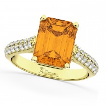 Emerald-Cut Citrine & Diamond Ring 14k Yellow Gold (5.54ct)