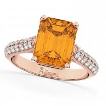 Emerald-Cut Citrine & Diamond Ring 18k Rose Gold (5.54ct)