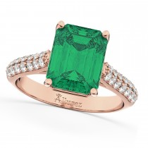 Emerald-Cut Emerald & Diamond Engagement Ring 14k Rose Gold (5.54ct)