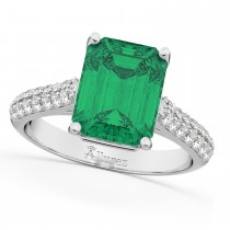 Emerald-Cut Emerald & Diamond Engagement Ring 18k White Gold (5.54ct)