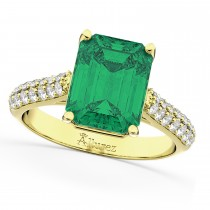 Emerald-Cut Emerald & Diamond Engagement Ring 18k Yellow Gold (5.54ct)