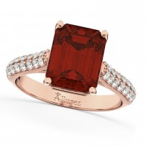 Emerald-Cut Garnet & Diamond Ring 14k Rose Gold (5.54ct)
