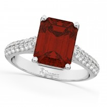 Emerald-Cut Garnet & Diamond Ring 14k White Gold (5.54ct)