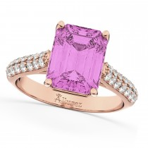 Emerald-Cut Pink Sapphire & Diamond Ring 18k Rose Gold (5.54ct)