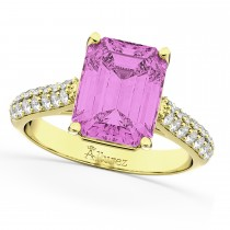 Emerald-Cut Pink Sapphire & Diamond Ring 18k Yellow Gold (5.54ct)