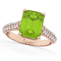 Emerald-Cut Peridot & Diamond Ring 14k Rose Gold (5.54ct)