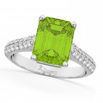 Emerald-Cut Peridot & Diamond Ring 14k White Gold (5.54ct)