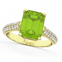 Emerald-Cut Peridot & Diamond Ring 14k Yellow Gold (5.54ct)