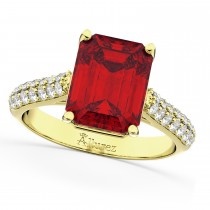 Emerald-Cut Ruby & Diamond Engagement Ring 14k Yellow Gold (5.54ct)
