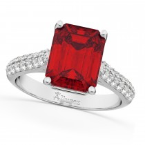 Emerald-Cut Ruby & Diamond Engagement Ring 18k White Gold (5.54ct)