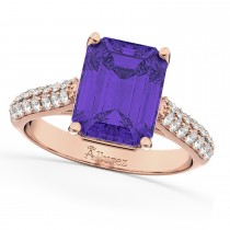 Emerald-Cut Tanzanite & Diamond Ring 18k Rose Gold (5.54ct)