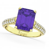 Emerald-Cut Tanzanite & Diamond Ring 18k Yellow Gold (5.54ct)