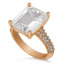 Emerald-Cut White Topaz & Diamond Engagement Ring 14k Rose Gold (5.54ct)