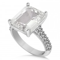 Emerald-Cut White Topaz & Diamond Engagement Ring 14k White Gold (5.54ct)