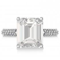 Emerald-Cut White Topaz & Diamond Engagement Ring 14k White Gold (5.54ct)