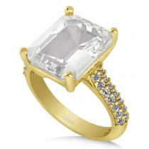 Emerald-Cut White Topaz & Diamond Engagement Ring 18k Yellow Gold (5.54ct)