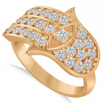 Diamond Hamsa Hand of God Fashion Ring 14k Rose Gold (0.82ct)