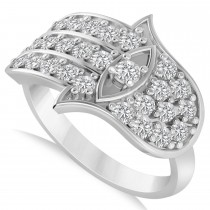 Diamond Hamsa Hand of God Fashion Ring 14k White Gold (0.82ct)