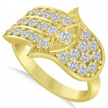 Diamond Hamsa Hand of God Fashion Ring 14k Yellow Gold (0.82ct)