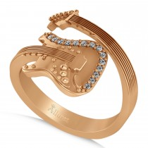 Diamond Accented Guitar Music Fashion Ring 14k Rose Gold (0.07ct)