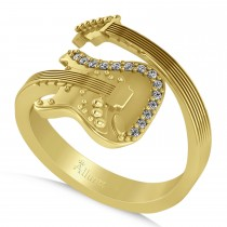 Diamond Accented Guitar Music Fashion Ring 14k Yellow Gold (0.07ct)