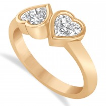 Diamond Two Stone Heart Bezel Set Ring 14k Rose Gold (1.00ct)