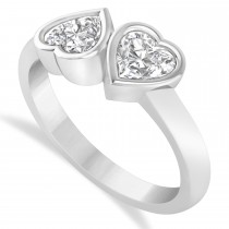 Diamond Two Stone Heart Bezel Set Ring 14k White Gold (1.00ct)