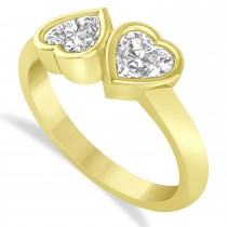 Diamond Two Stone Heart Bezel Set Ring 14k Yellow Gold (1.00ct)