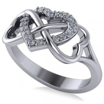 Infinity Heart Diamond Accented Fashion Ring 14k White Gold (0.17ct)