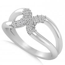 Diamond Novelty Double Loop Ladies Ring 14k White Gold (0.22ct)