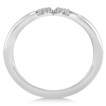 Diamond Novelty Double Loop Ladies Ring 14k White Gold (0.22ct)