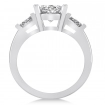 Oval & Baguette Cut Diamond Engagement Ring 14k White Gold (3.30ct)