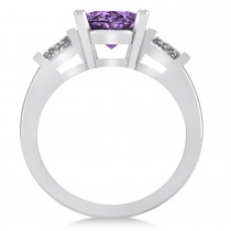 Oval & Baguette Cut Amethyst Engagement Ring 14k White Gold (3.30ct)
