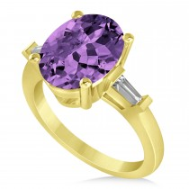 Oval & Baguette Cut Amethyst Engagement Ring 14k Yellow Gold (3.30ct)