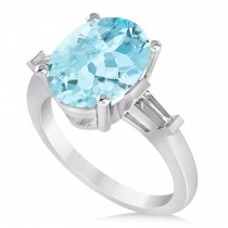 Oval & Baguette Cut Aquamarine Engagement Ring 14k White Gold (3.30ct)