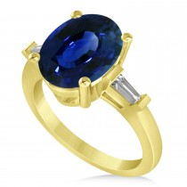 Oval & Baguette Cut Blue Sapphire Engagement Ring 14k Yellow Gold (3.30ct)