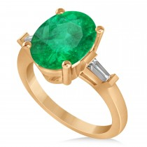 Oval & Baguette Cut Emerald Engagement Ring 14k Rose Gold (3.30ct)