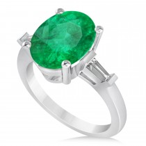 Oval & Baguette Cut Emerald Engagement Ring 14k White Gold (3.30ct)