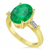 Oval & Baguette Cut Emerald Engagement Ring 14k Yellow Gold (3.30ct)